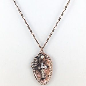COPPER WITH CRYSTALS SPOON NECKLACE
